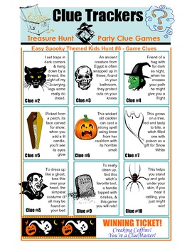 Fun Kids Spooky Halloween Hunt Clue Game Printable Holiday Activity for Ages 5-9