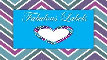Fun Labels, Ribbon labels, heart labels, chevron labels