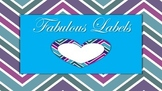 Fun Labels, Ribbon labels, heart labels, chevron labels