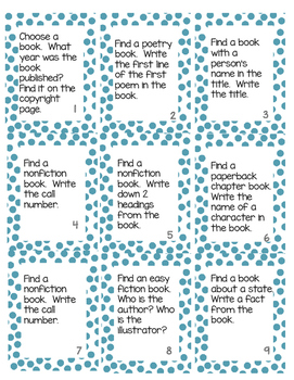 Fun Library Task Cards