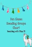 Fun Llama Classroom Theme Reading Groups Chart