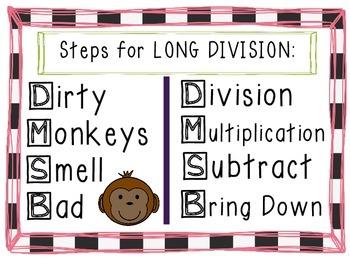 Fun Long Division Steps Anchor Chart