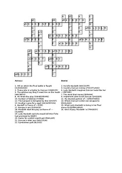 Fun 'Macbeth' crossword revision test