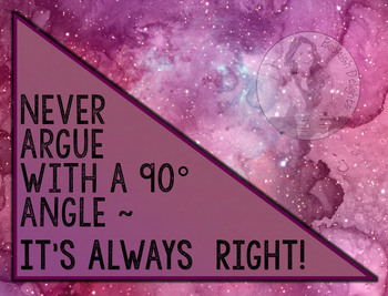 Fun Math Definition Poster - A 90 degree angle is always RIGHT!