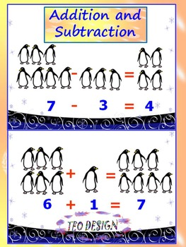 Penguins Math - Addition and Subtraction - Interactive slide show