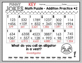 5 Fun Math Riddle Sheets // Set #1 // 3-digit and 4-digit addition // zero prep