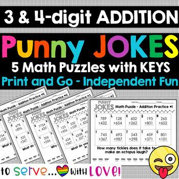 3-digit 4-digit addition / Funny Puns Math Jokes Riddles / Set #1 / zero prep