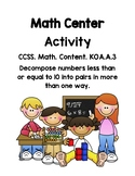 Fun Math Station - Decomposing Numbers less than 10