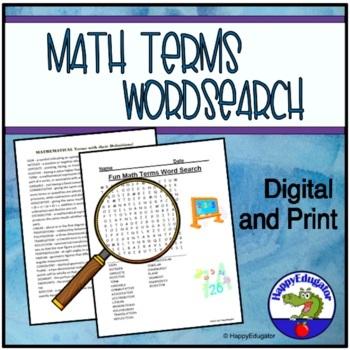 Fun Math Terms Word Search - TEST PREP by HappyEdugator | TpT