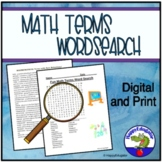 Fun Math Terms Word Search - TEST PREP w/ Easel Activity