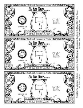 Fun Money Dollars by the Letter ~ Letter A ~ Rewards ~ Counting Dollars & More