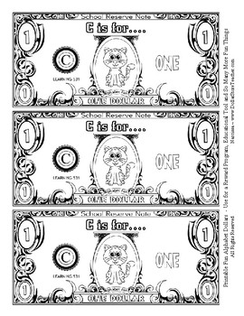 Fun Money Dollars by the letter ~ Letter C ~ Rewards~ Math Center~ Drama Support
