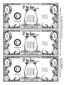 Fun Money Dollars by the letter ~ Letter F ~ Rewards~ Math Center~ Drama Support