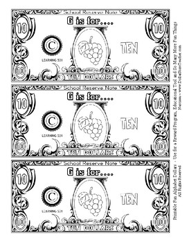 Fun Money Dollars by the letter ~ Letter G ~ Rewards~ Math Center~ Drama Support