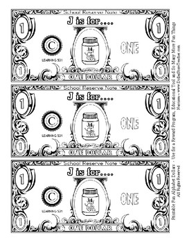 Fun Money Dollars by the letter ~ Letter J ~ Rewards  Math Center  Drama Support