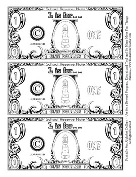 Fun Money Dollars by the letter ~ Letter L ~ Rewards  Math Center  Drama Support