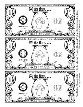 Fun Money Dollars by the letter ~ Letter M ~ Rewards  Math Center  Drama Support
