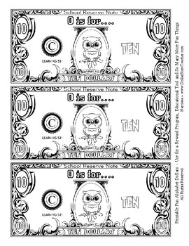 Fun Money Dollars by the letter ~ Letter O ~ Rewards  Math Center  Drama Support