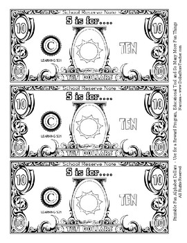 Fun Money Dollars by the letter ~ Letter S ~ Rewards  Math Center  Drama Support