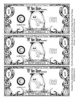 Fun Money Dollars by the letter ~ Letter V ~ Rewards  Math Center  Drama Support