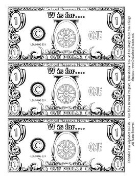 Fun Money Dollars by the letter ~ Letter W ~ Rewards  Math Center  Drama Support