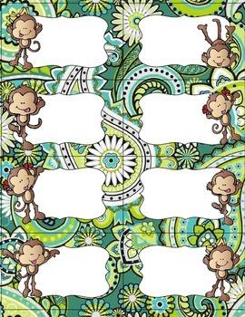 Editable Fun Monkey Label Set