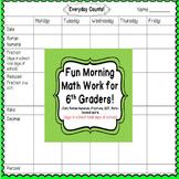 Fractions, Decimals, & Percents 6th Grade Morning Work