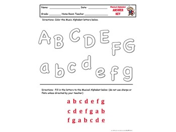 Fun Musical Alphabet Worksheet -Color the Letters/Fill in the Blanks