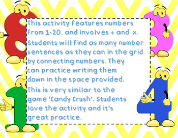 Number Crush! 6 Number Sentence Games/Worksheets- based on the Candy Crush game!