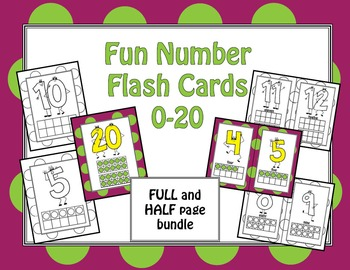 Fun Number Flash Cards 0-20 BUNDLE
