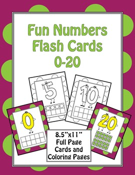 Fun Number Flash Cards 0-20 Full Page