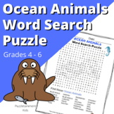 Fun Ocean Animals Word Search Puzzle for Grades 4, 5, 6 an