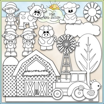 Fun On The Farm Clip Art - Farm Animals Clip Art - CU Clip Art & B&W