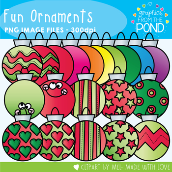 Christmas Fun Ornaments - Clipart for Teaching and Classrooms
