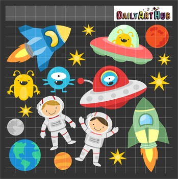 Fun Outer Space Clip Art - Great for Art Class Projects!
