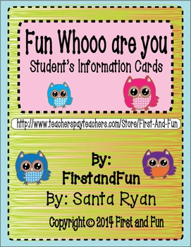 Fun Owl Student Info Whoo Are You Cards