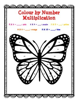 Fun Page Activity: Butterfly Color by Number Multiplication