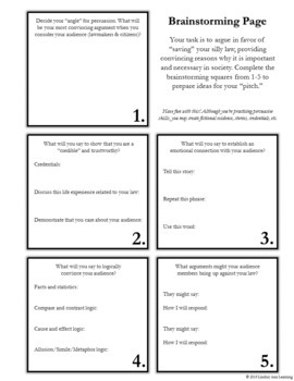 Fun Persuasive Writing Activity for Middle School & High School