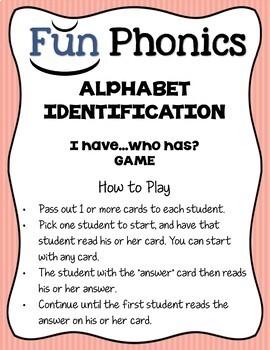 "Fundations Aligned ""I Have...Who Has?"" Alphabet Identification Game"