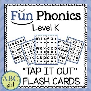"Kindergarten Fundationally FUN PHONICS Level K  ""Tap It Out"" Flash Cards"