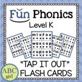 Kindergarten FUN PHONICS Level K Tap It Out CVC Flash Cards