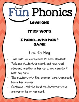 """Fun Phonics Level 1 """"I Have...Who Has?"""" Trick Word Game"""