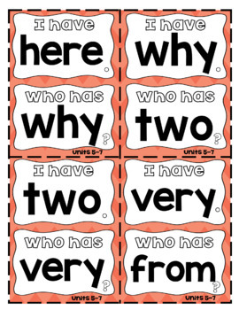"""1st Grade Fundationally FUN PHONICS Level 1 """"I Have...Who Has?"""" Trick Word Game"""