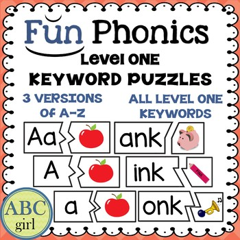 1st Grade Fundationally FUN PHONICS Level 1 Keyword Puzzles
