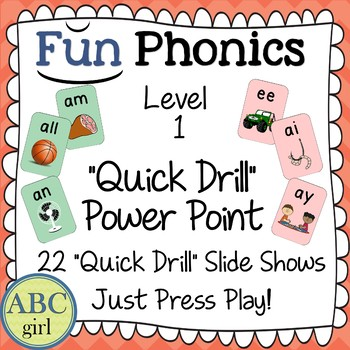 1st Grade FUNDATIONS Level 1 Quick Drill Power Point Presentation for SMARTboard