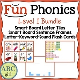 1st Grade Fundationally FUN PHONICS Level 1  Smart Board and Flash Card Bundle