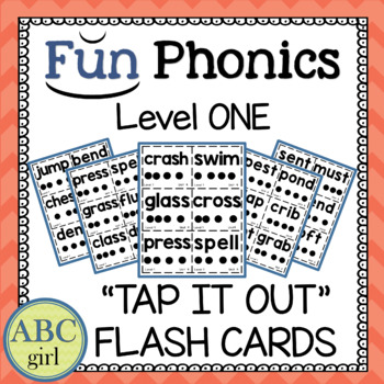 """1st Grade Fundationally FUN PHONICS Level 1 """"Tap It Out"""" Blending Flash Cards"""