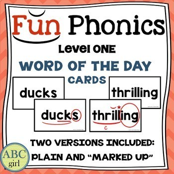1st Grade Fundationally FUN PHONICS Level 1 Word Of The Day Cards