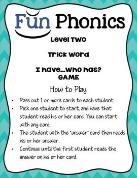 "2nd Grade Fundationally FUN PHONICS Level 2 ""I Have...Who Has?"" Trick Word Game"