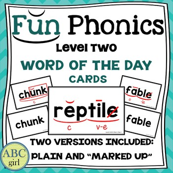 2nd Grade Fundationally FUN PHONICS Level 2 Word of the Day Cards